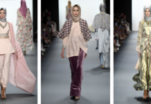 Models on ramp of NYFW wearing hijab collection spring summer 2017