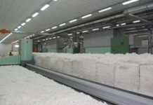 Pile of cotton fiber in a Bangladeshi spinning mill. Recently India could capture much of Bangladesh's cotton and cotton goods import.