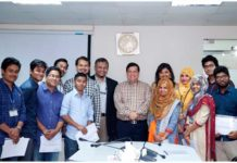Figure 1. From the left Dr. Mohammad Abbas Uddin, Prof. Dr. Engr. Ayub Nabi Khan, Mr. Muzaffar U. Siddique and Most. Setara Begum with the interns and others.