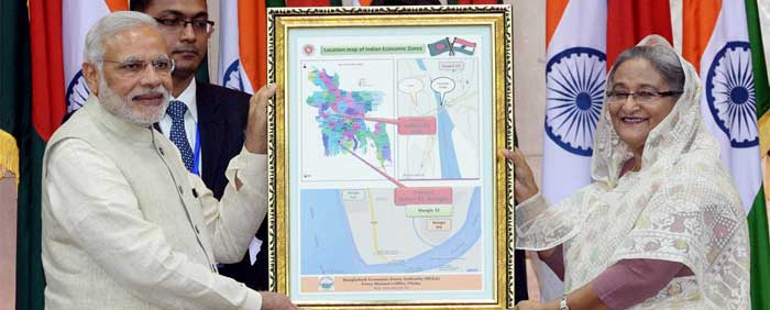 Recently Bangladesh has signed an MOU with India for establishing 2 Economic Zones for the Indian investors. Bangladeshi PM Sheikh Hasina handed over a Replica Map of the 2 EZs (Mongla & Kushtia) to the Indian PM.