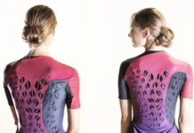 Figure 1: This breathable workout suit prototype has ventilating flaps that open and close in response to an athlete's body heat and sweat. The left photo was taken before exercise when ventilation flaps are flat; after exercise, the ventilation flaps have curve