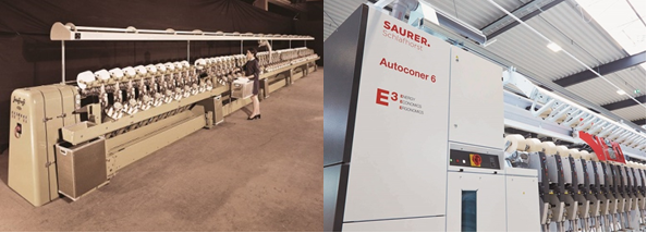 Figure: Two pictures show the Schlafhorst Autoconer 1 and Autoconer 6 evolution, indicates a great success and contribution to the global textile industry.