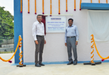 Figure 1: (L-R) Nipun Soni, Site head, Huntsman Textile Effects and B. R Naidu, Zonal officer, Central Pollution Control Board at the inauguration of the 500 KL Luna Water Tank by Huntsman.