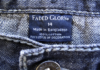 "Figure 1: ""Made in Bangladesh"" tag inside a jeans of a Walmart brand 'Faded Glory'."