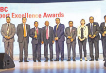 Figure 1: Mr. Tofail Ahmed, Commerce Minister; Alison Blake, British High Commissioner in Dhaka, and Francois de Maricourt, CEO of HSBC Bangladesh with the winners of the 7th HSBC Export Excellence Awards.