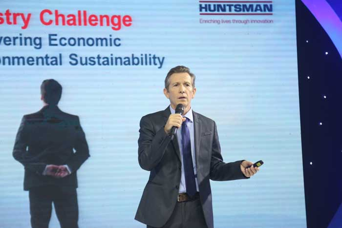 Figure 2: Holger Schlaefke, Global Marketing Manager (Home Textiles), Huntsman Textile Effect presented some key benefits his company has to offer to its Bangladesh customers.