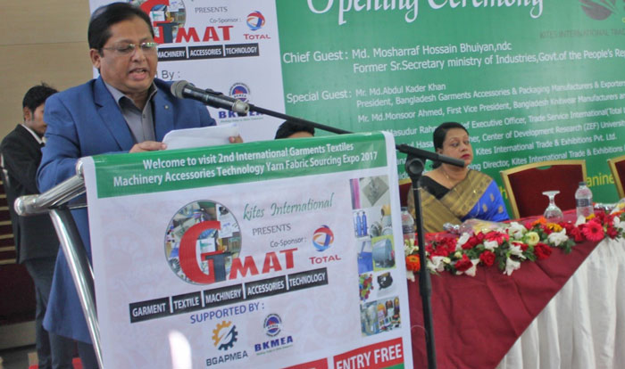 Figure 2: Mr. Mansoor Ahmed, First Vice President of Bangladesh Knitwear Manufacturers & Exporters Association (BKMEA) delivered his speech.