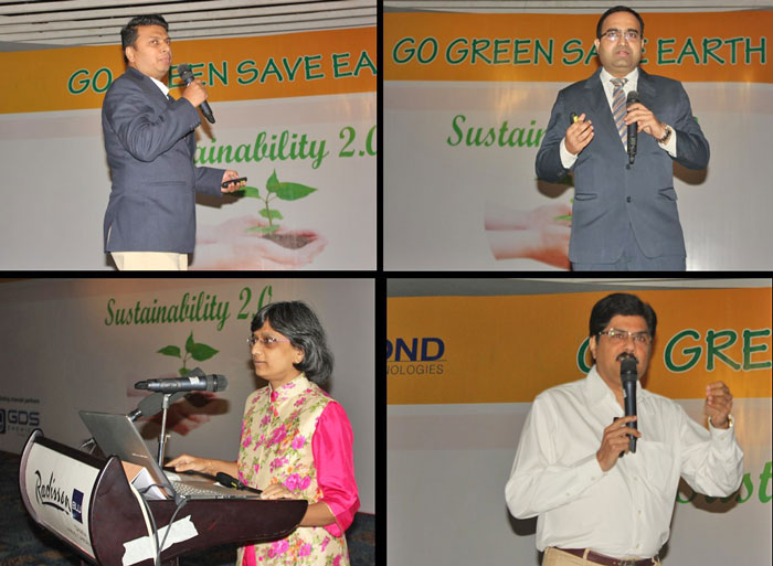 Figure 3: Speakers from regulation and certificate providers. Clockwise from top left corner Sumit Gupta, Global Organic Textile Standard (GOTS) Representative in India & Bangladesh, Prashant Pote, Customer Relationsip Manager, BlueSign, Prasad Pant, CEO-Nimkartek, Rashmi Naidi, Ex. Technical Director from REACH.