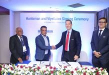 Figure 1: At the signing ceremony (from left to right) Akther Hossain, Managing Director of SwissColours Bangladesh Ltd, David Hasanat, Chairman of Viyellatex Group, Chuck Hirsch, Viice President, Sales and Technical Resources of Huntsman Textile Effects, Dheeraj Talreja, Commercial Dirctor Huntsman Textile Effects.