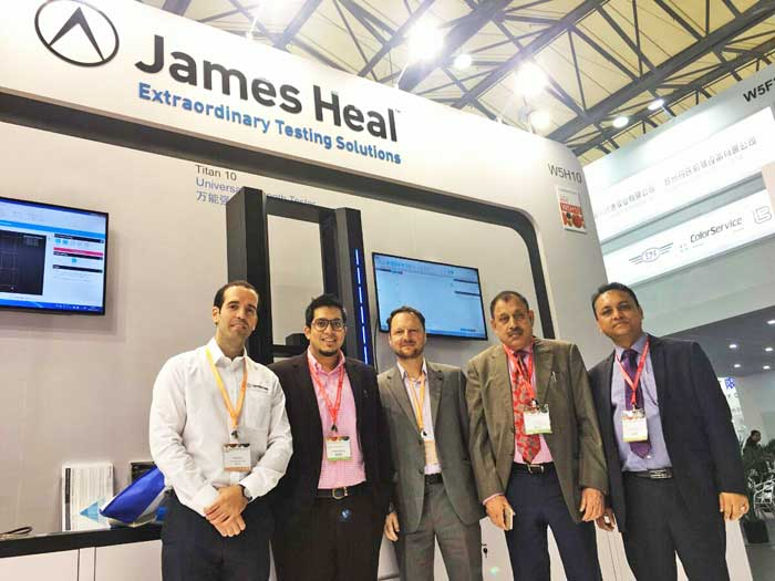 Figure 1: James Heal and its Bangladesh representative OMC executives are seen at James Heal Shanghaitex 2017 stall after the launching of Titan 10 Universal Strength Tester.