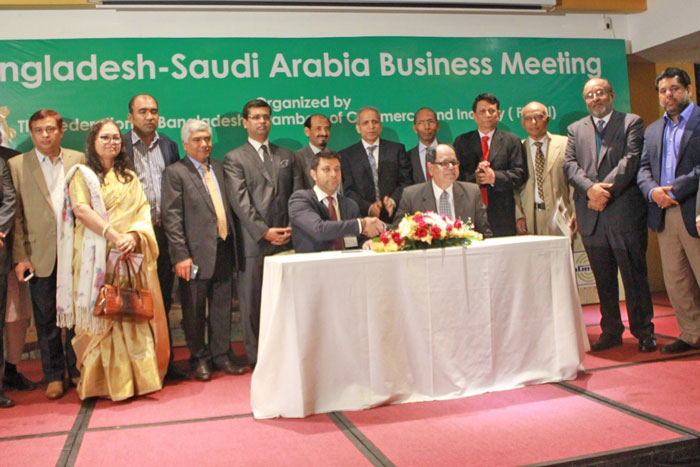 Figure 1: A Memorandum of Understanding (MoU) was signed at the meeting between FBCCI and Alfanar Energy, a leading Manufacturer and Construction Company of Saudi Arabia.
