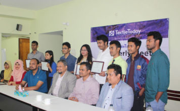 Figure 2: Textile Today distributed some acknowledgement awards to the reporters and research assistants for their outstanding contributions.