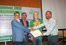 Figure1: Chief Guest of the seminar Engr. Md. Shafiqur Rahman, President of ITET, handed over certificates to the printing factories.