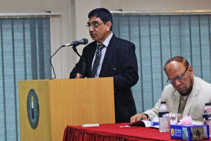 Figure 2: Prof. Syed Fakhrul Hassan Murad, Chairman, Dept. of Textile Engineering, SEU delivered the speech.