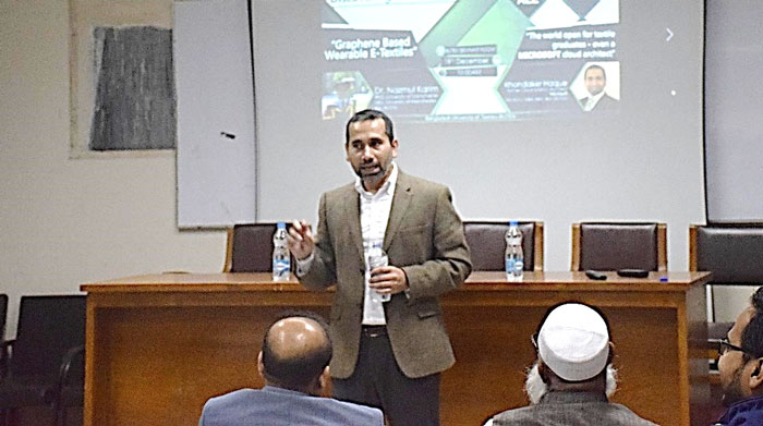 Figure 2: Khondaker Haque, Former Cloud Solution Architect, Microsoft was delivering his keynote speech at the seminar.