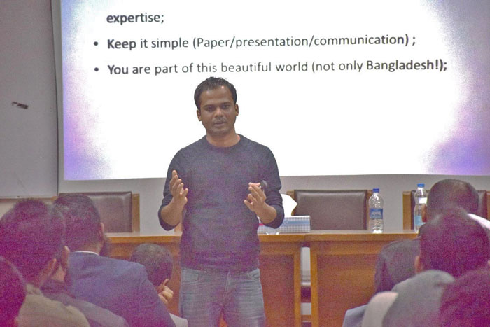 Figure 3: Dr. Nazmul Karim, Knowledge Exchange Fellow at the University of Manchester and Honorary Technical Editor of Bangladesh Textile Today was delivering his keynote speech at the seminar.