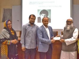 Figure 1: Dr. Kamrul Hassan, renowned entrepreneur in textile sector, handed over a check worth 20 million to BUTEX VC for the formation of a trust.