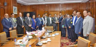 Figure: Recently a delegation of Dhaka Chamber of Commerce and Industry (DCCI) led by its President Abul Kasem exchanged views with Bangladesh Bank Governor Fazle Kabir at BB conference room in the capital on 15th February 2018.