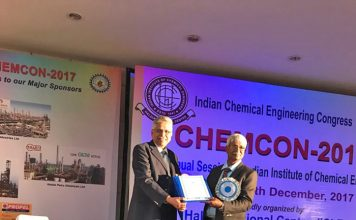 Figure 1: Dr. N.N. Mahapatra receiving Fellowship Award from Prof P .Dey ,President of Indian Institute of Chemical Engineers.
