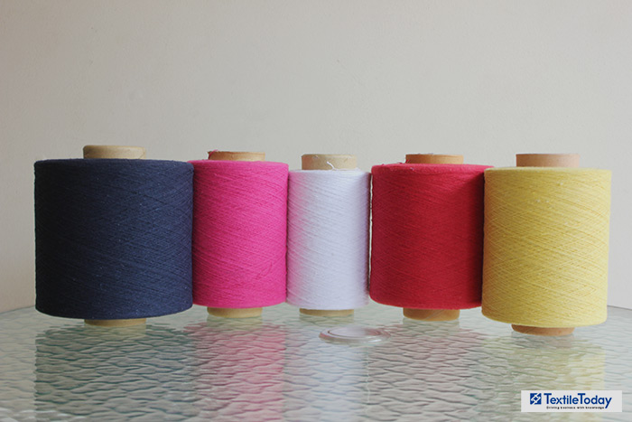 yarn packages processed from cutting waste at Filotex