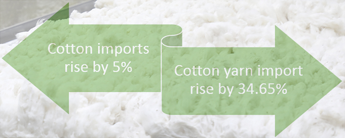 Raw cotton imports saw 5% rise-FY 2018