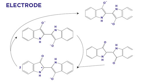 direct electrochemical reduction of indigo radical