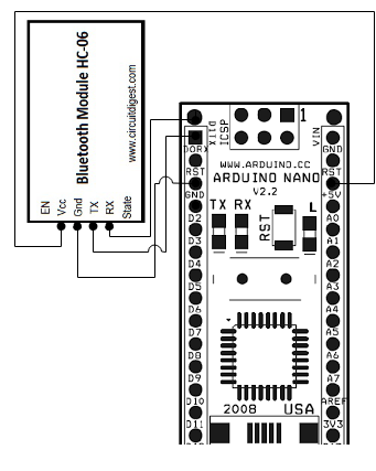 Connection for Arduino Nano and Bluetooth Module HC-05