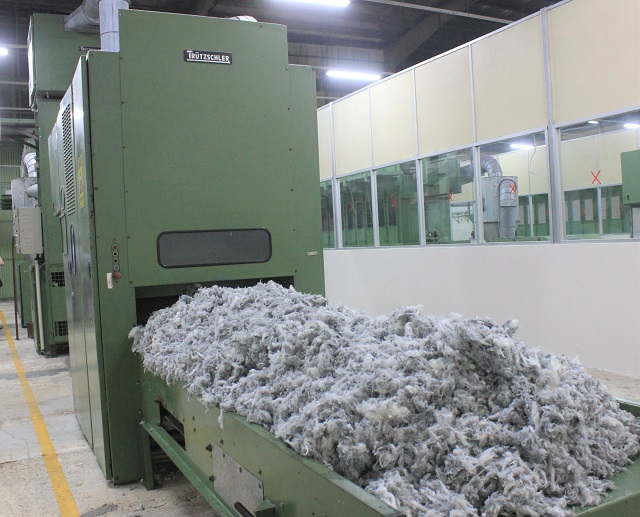 recycled yarn in fiber stage at SIMCO Spinning Ltd